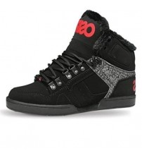 Osiris NYC 83 Shearling Red Black Red Mens Hi Top Skate Trainers Shoes