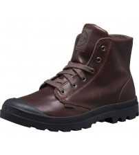 Palladium Pampa Hi Brown Black Men Leather Ankle Mid Boots