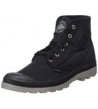 Palladium Pampa Hi Black Grey Mens Canvas Ankle Mid Boots