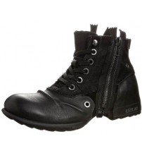 Replay Clutch Black Mens Side Zip Mid Ankle Leather Army Boots Shoes