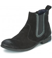Replay Gred Black Mens Mid Ankle Leather Chelsea Boots