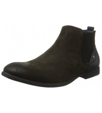 Replay Langdon Stone Black Mens Mid Ankle Suede Chelsea Boots