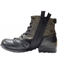 Replay Clutch Black Green Mens Side Zip Mid Ankle Leather Army Boots