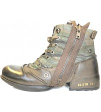 Replay Clutch Brown Camo Mens Side Zip Mid Ankle Leather Army Boots