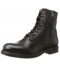 Replay Phim Black Mens Mid Ankle Leather Army Boots