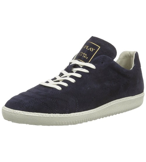 Replay Stone Scatto 1972 Navy Suede Mens Trainers Shoes