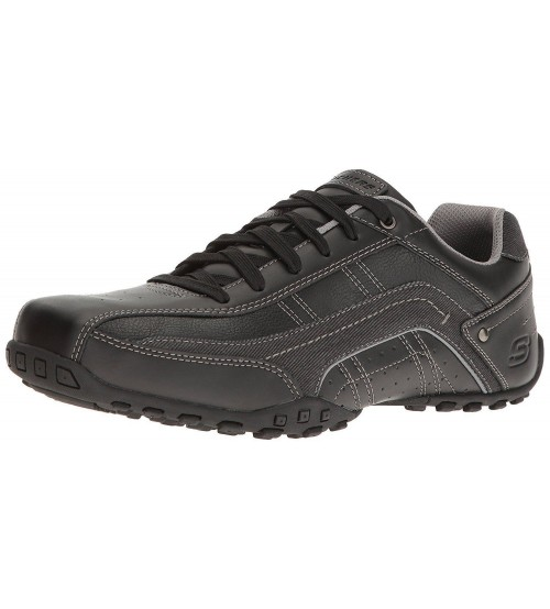 Skechers City Walk Elendo Black Mens Leather Traienrs Shoes