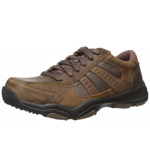 Skechers Larson Nerick Brown Mens Leather Traienrs Shoes