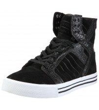Supra Skytop Black Croc White Mens Suede Skate Trainers