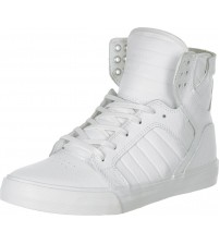 Supra Skytop White Red Mens Leather Skate Trainers