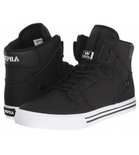 Supra Vaider Black White Men Leather Skate Trainers