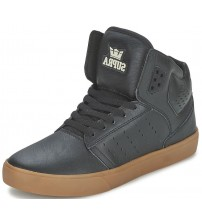 Supra Atom Black Gum Mens Leather Skate Trainers Shoes Boots