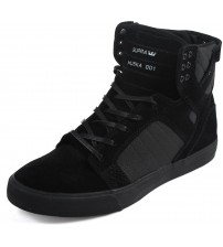 Supra Skytop Black White Mens Suede Skate Trainers Shoes Boots