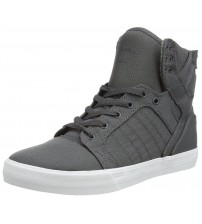 Supra Skytop Charcoal White Mens Canvas Skate Trainers Shoes Boots