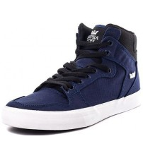 Supra Vaider Navy Black White Mens Canvas Skate Trainers Boots