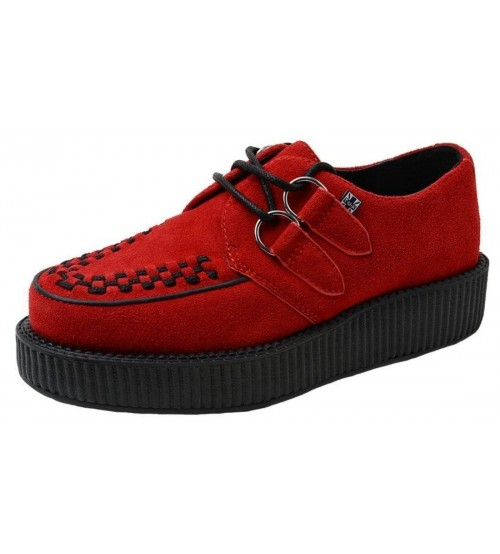 TUK AV9050 Red Black Womens Suede Viva Creepers Shoes
