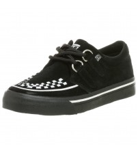 TUK A6293 Black White Suede Womens Creepers