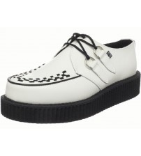 TUK A6802 Mondo Hi White Black Leather  Mens Creepers
