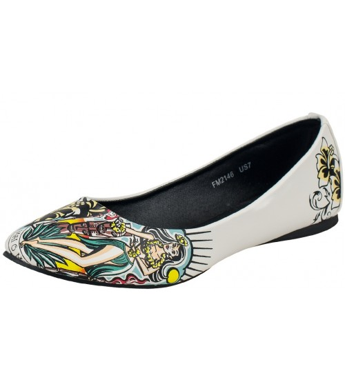 TUK A8340 White Multi Pumps Summer Slipons Flats
