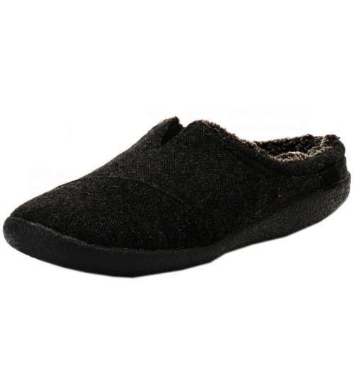 Toms Classic Black Shearling Mens Slippers Shoes