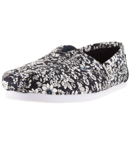 Toms Classic Navy Floral Womens Canvas  Slipons
