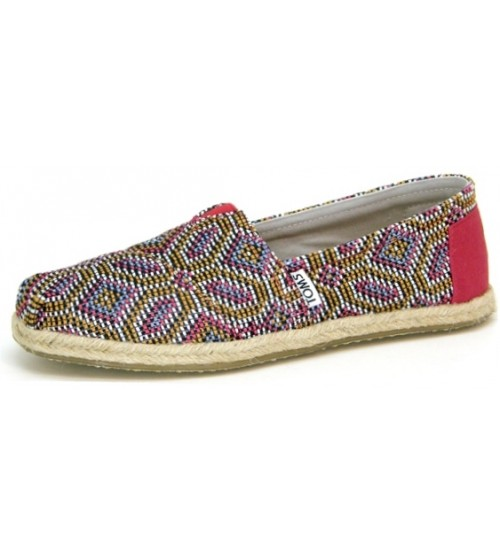 Toms Classic Pink Multi Woven Womens Canvas Espadrilles Shoes Slipons