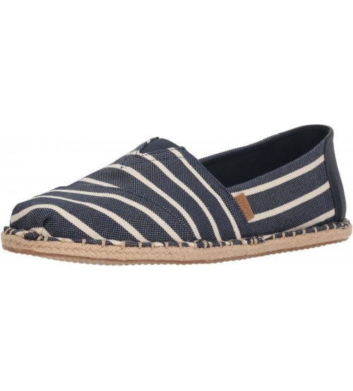 Toms Classic Navy Stripe Mens Canvas Espadrilles Shoes