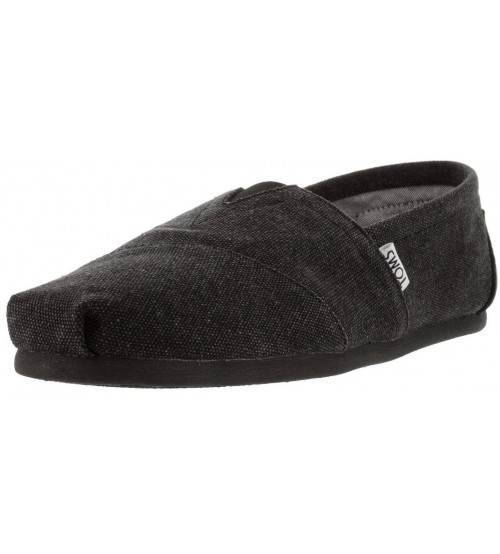 Toms Classic Black Washed Canvas Mens Espadrilles Shoes Slipons
