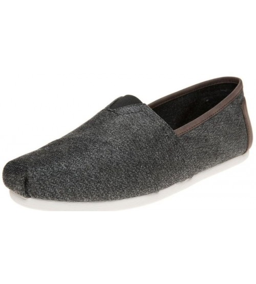 Toms Classic Charcoal Herringbone Canvas Espadrilles Shoes Slipons