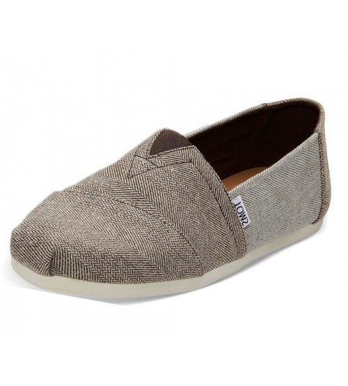Toms Classic Brown Herringbone Mens Espadrille Shoes