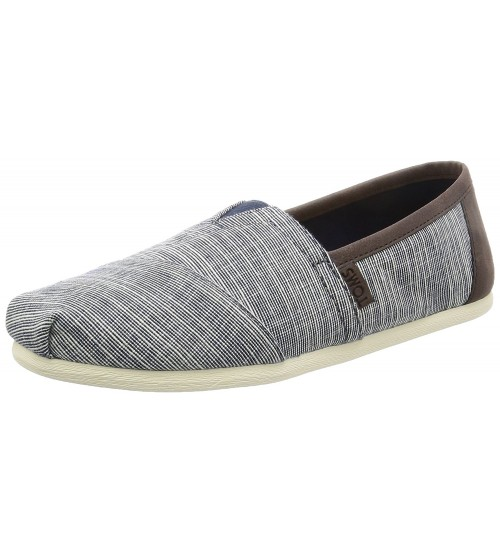 Toms Classic Navy Brown Canvas Mens Espadrille Shoes