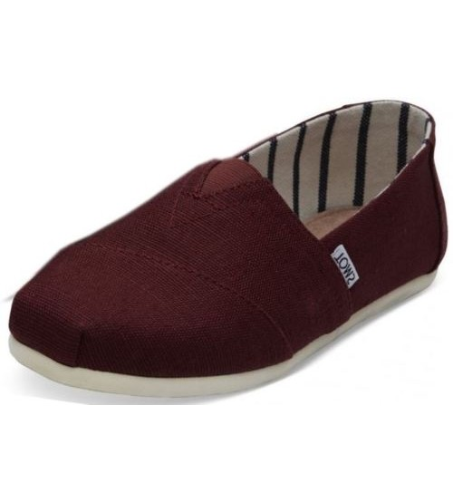 Toms Classic Black Cherry Heritage Canvas Mens Espadrilles Shoes Slipons