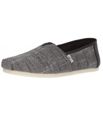 Toms Classic Black Textured Chambray Mens Espadrilles Shoes Slipons
