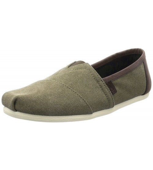 Toms Classic Olive Washed Trim Canvas Espadrilles Shoes Slipons