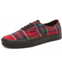 Vans Authentic Plaid Mix Red Black Mens Skate Trainers