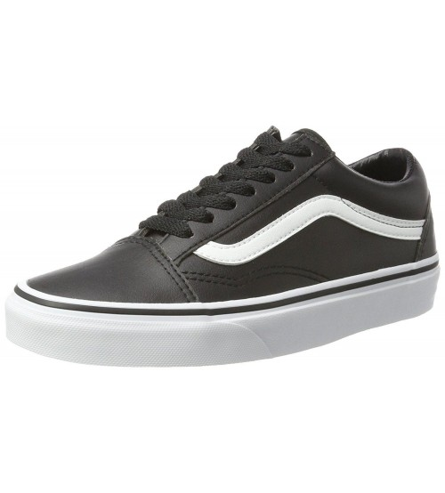 Vans Old Skool Black White Mens Leather Skate Trainers
