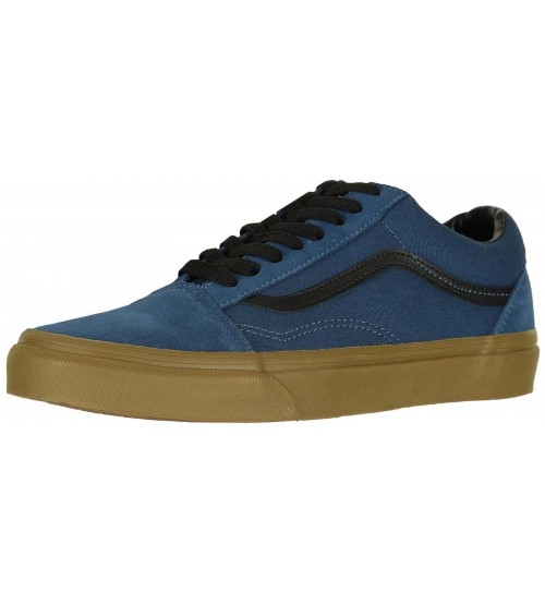 Vans Old Skool Dark Denim Gum Mens Suede Skate Trainers