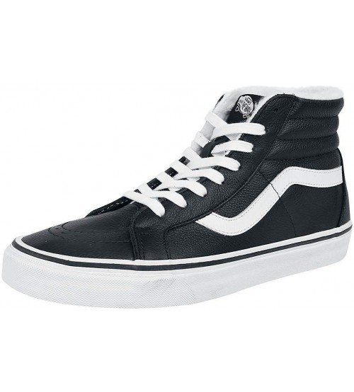 Vans SK8 Hi Black White Leather Fleece Mens Skate Trainers