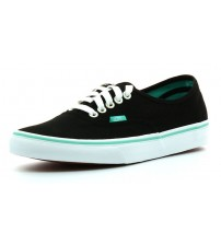 Vans Authentic Black Green Womens Canvas Trainers Shoes