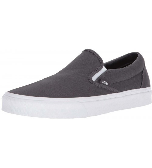 Vans Classic Charcoal White Canvas Mens Slip-on Trainers Shoes