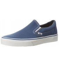 Vans Classic Navy White Canvas Unisex Slip-on Trainers Shoes