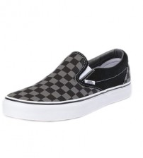 Vans Classic Grey Black Canvas Unisex Slip-on Trainers Shoes