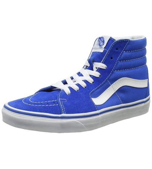 Vans SK8 Hi Blue White Mens Suede Skate Trainers Boots