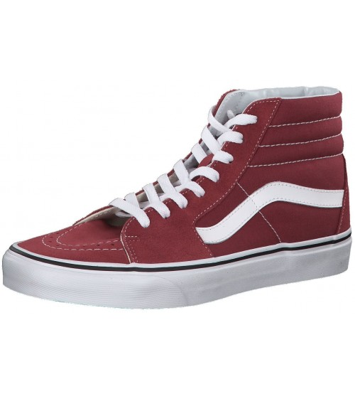 Vans SK8 Hi Maroon White Suede Unisex Trainers Boots