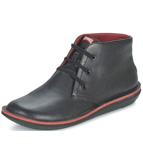 Camper Beetle 36530 Black Red Men Mid Leather Trainers