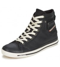Diesel Exposure I Black White Leather Men New Hi Trainers