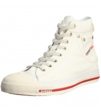 Diesel Exposure Hi Off White Red Mens Canvas Trainers