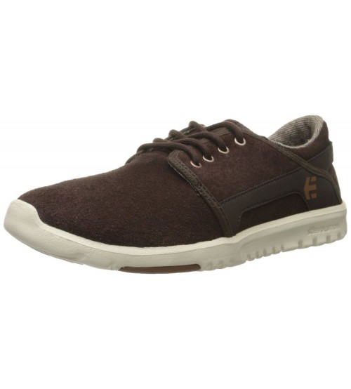 Etnies Scout Brown White Suede Mens Skate Trainers Shoes