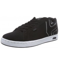 Etnies Fader Black White Grey Mens Leather Skate Trainers Shoes