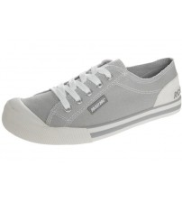 Rocket Dog Jazzin Light Grey White Women Laced Canvas Trainers